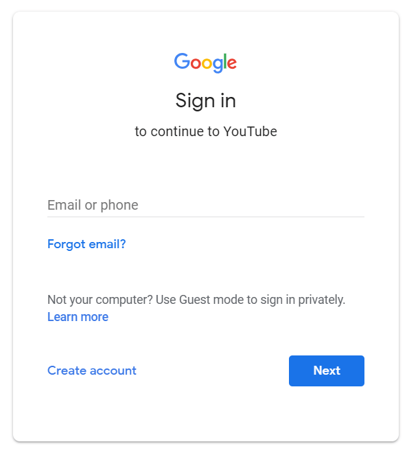 personalized embedded software help Google sign in for YouTube